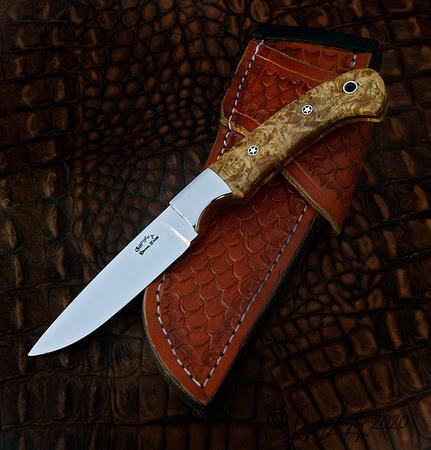 """3 1/2"""" cpm154 blade, with stabilized Birdseye Maple $400"""